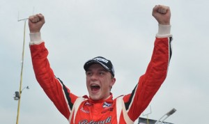 Alex Baron celebrates after his first Indy Lights victory Sunday in Toronto. (Indy Lights Photo)