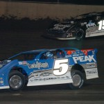 Don O'Neal (5) battles Steve Francis during Friday's Lucas Oil Late Model Dirt Series event at Tri-City Speedway. (Don Figler Photo)