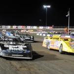 The Lucas Oil Late Model Dirt Series field lined up before Friday's feature at Tri-City Speedway. (Don Figler Photo)