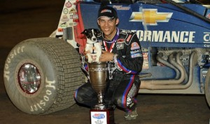 Bryan Clauson and his dog, Chevy, after Clauson clinched the Indiana Sprintweek title. (Ginny Heithaus photo)