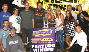 Jonathan Cornell in victory lane Thursday night at Double X Speedway.
