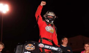 Dave Darland celebrates after his victory in Saturday's AMSOIL USAC National Sprint Car Series event at Kokomo Speedway. (Gary Gasper Photo)
