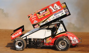 Tony Stewart in his sprint car at Michigan's Crystal Motor Speedway in July. (T.J. Buffenbarger Photo)