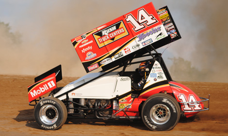 Tony Stewart made a successful return to sprint-car racing by winning in his first start in nearly a year Friday at Tri-City Motor Speedway in Michigan. (T.J. Buffenbarger Photo)