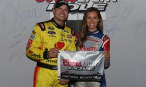 David Gilliland earned his third career NASCAR Sprint Cup Series pole Friday night at Daytona Int'l Speedway. (NASCAR Photo)