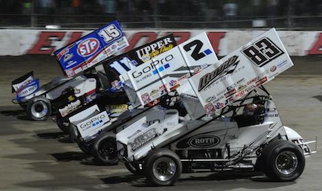 The four-wide parade lap prior to Saturday night's Kings Royal at Eldora Speedway. (Julia Johnson photo)