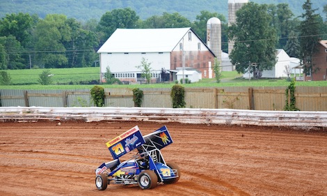 Greg Hodnett, shown during hot laps Friday night at Williams Grove Speedway, went on to his first World of Outlaws victory of the season. (Julia Johnson photo)