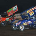 Greg Hodnett (27) races Austin Hogue Friday evening at Williams Grove Speedway. (Julia Johnson Photo)
