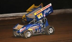 Greg Hodnett (27) races under Joey Saldana Friday night at Pennsylvania's Williams Grove Speedway. (Julia Johnson photo)
