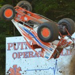 A.J. Hopkins went for a wild ride during AMSOIL USAC National Sprint Car Series competition Thursday at Lincoln Park Speedway. He was not hurt. (Dave Heithaus Photo)