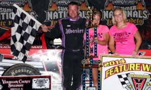Shannon Babb drove to victory in Sunday's DIRTcar Summer Nationals event at Vermillion County Speedway. (Jim DenHamer Photo)