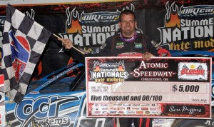 Brian Shirley led every lap of Wednesday's DIRTcar Summer Nationals stop at Atomic Speedway. (Jim DenHamer Photo)