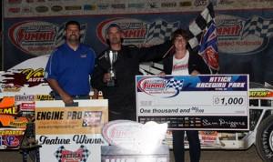 Dave Baker won Friday's DIRTcar Summit Racing Equipment Modified Nationals event at Attica Raceway Park. (Jim DenHamer Photo)