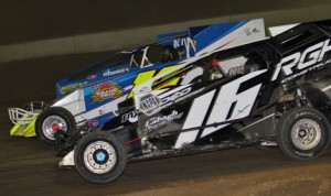 Danny Creeden (16) on his way to victory in the Crazy 8s Special Thursday at I-88 Speedway. (Dave Dalesandro/RPW Photo)