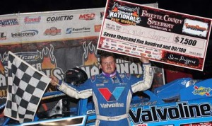 Brandon Sheppard pocketed $7,500 after winning Friday's DIRTcar Summer Nationals event at Fayette County Speedway. (Jim DenHamer Photo)
