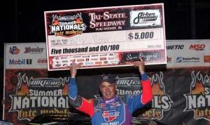 Billy Moyer captured Sunday's DIRTcar Summer Nationals event held at Tri-State Speedway. (Jim DenHamer Photo)