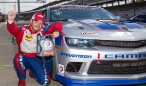 Matt Bell put the No. 9 Stevenson Motorsports Camaro on the pole for Friday's Continental Tire SportsCar Challenge race at Indianapolis Motor Speedway. (Ted Rossino Jr. Photo)
