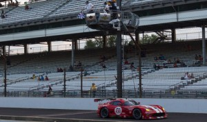 The Dodge Viper SRT shared by Jonathan Bomarito and Kuno Wittmer crosses the finish line to win the GT Le Mans portion of the Brickyard Grand Prix Friday at Indianapolis Motor Speedway. (Ted Rossino Jr. Photo)