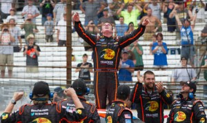Ty Dillon celebrates after his first NASCAR Nationwide Series victory Saturday at Indianapolis Motor Speedway. (Ted Rossino Jr. Photo)