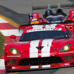 A Dodge Viper leads a Prototype Challenge entry during Sunday's TUDOR United SportsCar Championship event at Watkins Glen (N.Y.) Int'l. (Ted Rossino Photo)