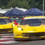 A pair of Corvette Racing entries battle for position during Sunday's TUDOR United SportsCar Championship race at Watkins Glen Int'l. (Ted Rossino Photo)