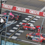 A pair of Prototype Challenge entries battle an Audi on the front stretch at Watkins Glen (N.Y.) Int'l Sunday during the TUDOR United SportsCar Championship race. (Ted Rossino Photo)