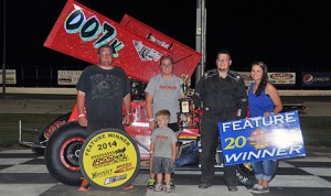 Jared Kern stands in victory lane after winning Friday's United Rebel Sprint Series feature at Dodge City Raceway Park. (TWC Photo)