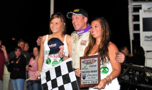 Joe Gosek in victory lane Saturday at Oswego Speedway.