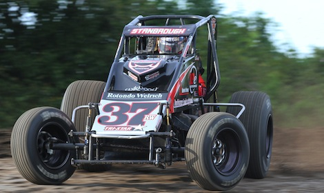 Jon Stanbrough won Friday's USAC sprint car race at Gas City (Ind.) I-69 Speedway. (Gordon Gill photo)