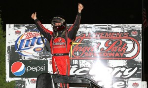 Jerry Coons Jr. celebrates after winning Norm Nelson Classic Sunday at Angell Park Speedway. (Jeff Arns Photo)