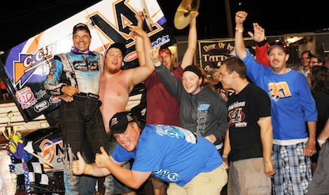 Lance Dewease and the Dietz Motorsports team celebrate a $20,000 victory Saturday at Williams Grove Speedway. (Julia Johnson photo)