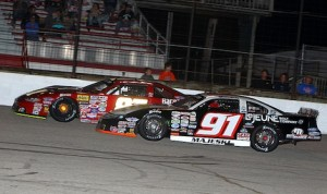 Ty Majeski (91) won Saturday's ARCA Midwest Tour race at Hawkeye Downs Speedway. (Mike Ruefer photo)