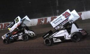 Daryn Pittman (9) races Kerry Madsen during the Kings Royal at Eldora Speedway. (Julia Johnson Photo)