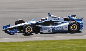 Juan Pablo Montoya on his way to victory in Sunday's Verizon IndyCar Series race at Pocono Raceway. (Dennis Bicksler Photo)