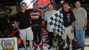 "Randy Cabral celebrates his win in last year's ""Boston"" Louie Memorial race in Seekonk, Mass. (Norm Marx photo)"