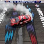 Brad Keselowski celebrates after winning Sunday's NASCAR Sprint Cup Series race at New Hampshire Motor Speedway. (NASCAR Photo)