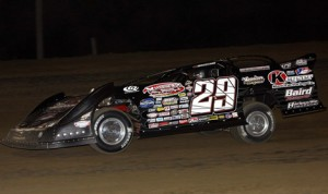 Darrell Lanigan, shown at Independence (Iowa) Motor Speedway, won Friday's World of Outlaws Late Model Series race at Lernerville Speedway. (Jim DenHamer Photo)