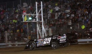 Darrell Lanigan crosses the finish line to win Thursday's World of Outlaws Late Model Series race at Independence Motor Speedway. (Jim DenHamer Photo)
