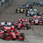 Tony Kanaan (10) leads a big pack of cars during Sunday's Verizon IndyCar Series race in Houston, Texas. (IndyCar Photo)