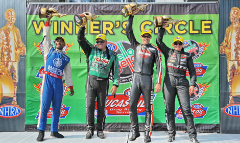 (From left) Antron Brown, John Force, Andrew Hines and Erica Enders-Stevens were winners in their respective NHRA classes Sunday at Summit Motorsports Park. (Rhonda Hogue McCole Photo)