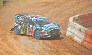 Ken Block on his way to victory in Saturday's Red Bull Global Rallycross event held at The Dirt Track at Charlotte. (Rhonda McCole Photo)