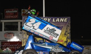 Rico Abreu dances on the top wing of his sprint car after winning Thursday's Illinois Sprint Week feature. (Mark Funderburk photo)