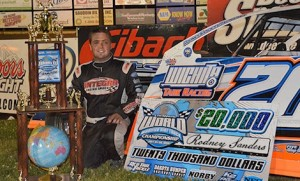 Rodney Sanders won the fourth annual World Modified Dirt Track Championship at Deer Creek Speedway Saturday night. (USMTS photo)