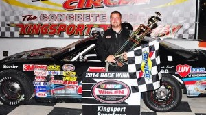 Ronnie McCarty of Kingsport, Tenn., captured his first-ever NASCAR Whelen All-American Series Late Model Stock feature win Friday night at Kingsport Speedway. (Randall Perry photo)