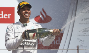 Lewis Hamilton celebrates after winning Sunday's British Grand Prix at the Silverstone Circuit. (Mercedes Photo)