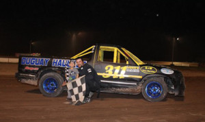 Sam Pennacchio captured the Pro 4 Truck class victory Sunday at Humberstone Speedway in Canada. (Soft Touch Photography Photo)
