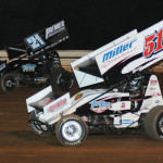 Stevie Smith (51) battles Brian Montieth for the race lead during Friday's Mitch Smith Memorial at Williams Grove Speedway. (Julia Johnson Photo)