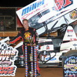 Stevie Smith stands in victory lane after winning the Mitch Smith Memorial at Williams Grove Speedway in July (Julia Johnson Photo)
