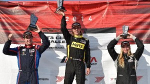 Sloan Urry, middle, posted his first Porsche GT3 Cup win of the year on Friday. (IMSA photo)