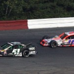 Justin Bonsignore (51) leads Ryan Preece during Saturday's NASCAR Whelen Modified Tour feature at Monadnock Speedway. (Dick Ayers Photo)